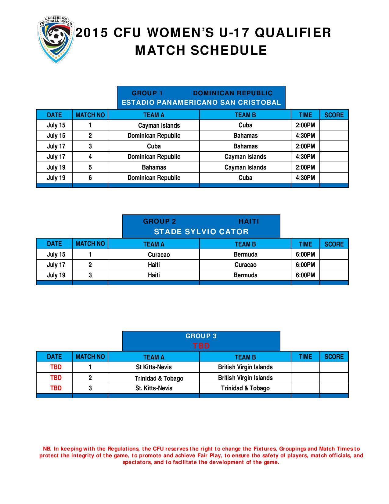 Copa America Calendrier.Foot Eliminatoires Mondial U17 Feminin Le Calendrier De La