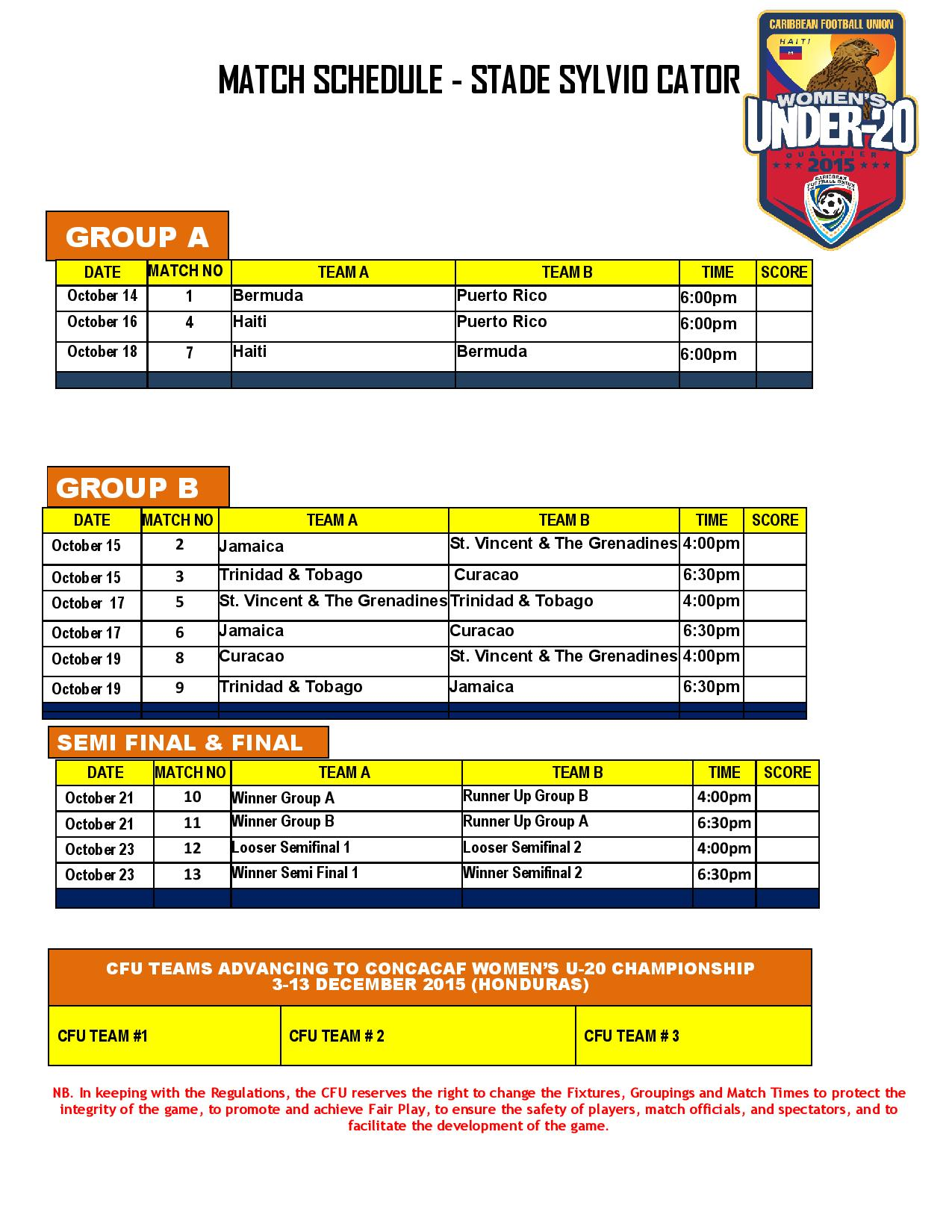 Foot f minin calendrier de la coupe cara be u 20 haiti - Calendrier de la coupe de france 2015 ...